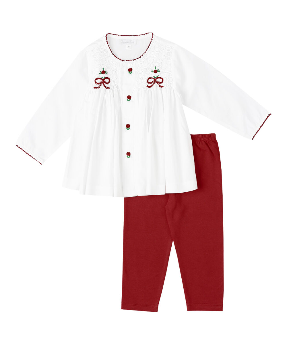 Smocked Red Rose Bouquet Top & Leggings