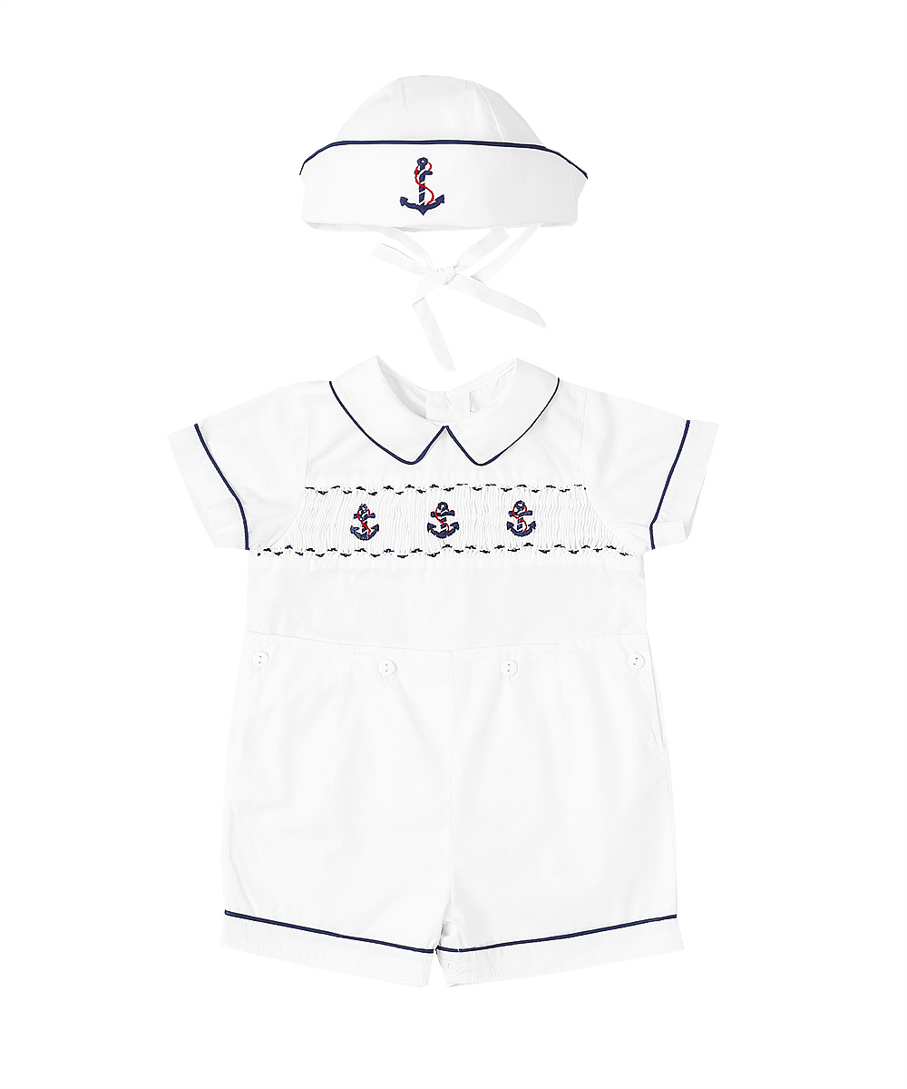 Smocked Anchor Sailor Button On Set & Hat