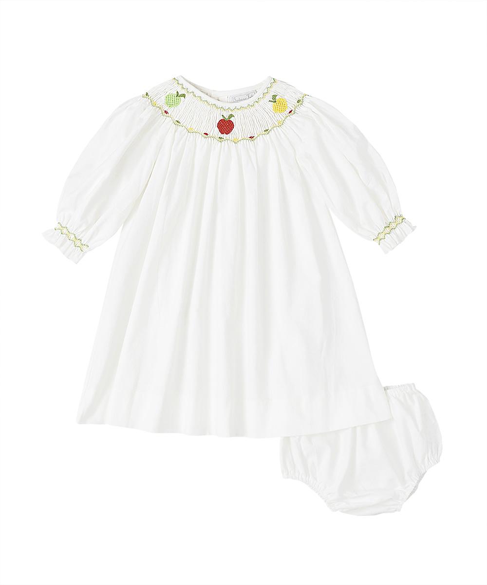 Smocked Multi Color Apple Bishop Dress & Bloomers
