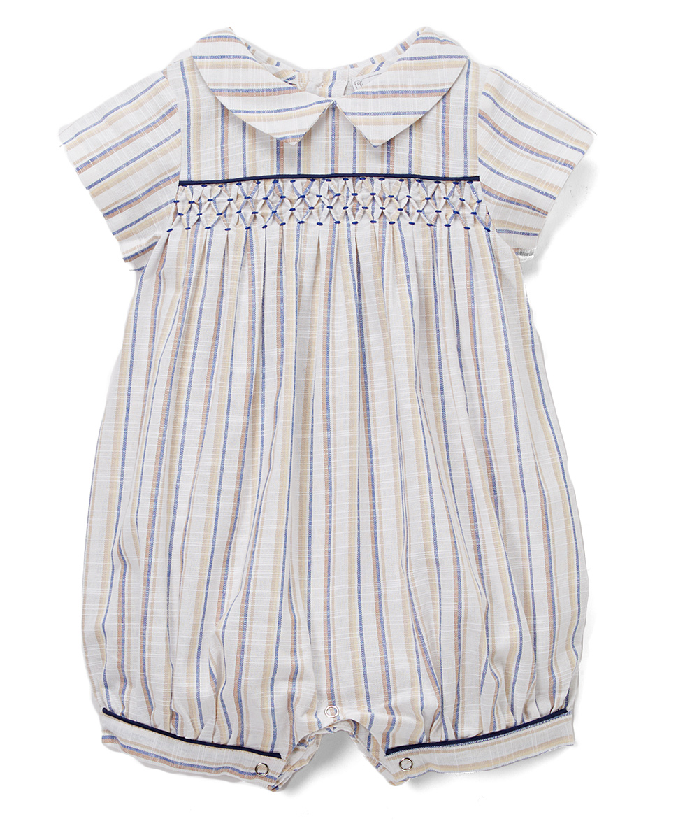 Gray & Off-white  Smocked Linen Romper