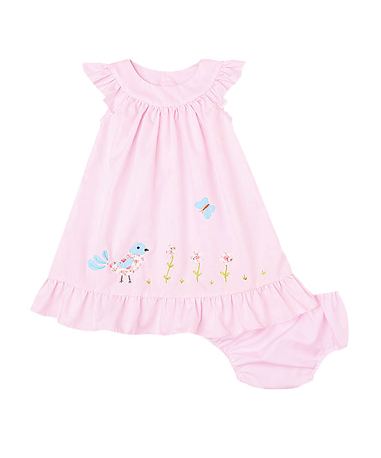 Bird& Butterfly Applique Pink Dress