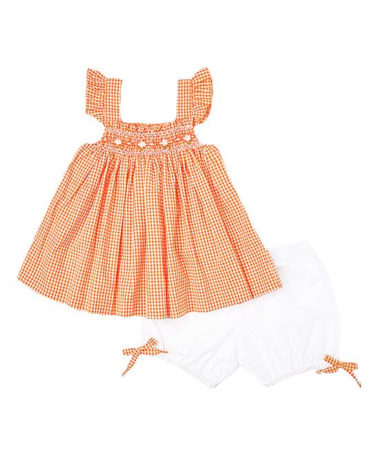 Smocked Orange Gingham Swing Top & Bloomers