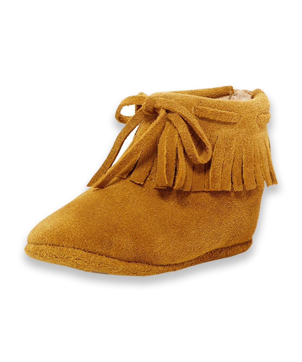 Camel Fringe Lace-Up Boots