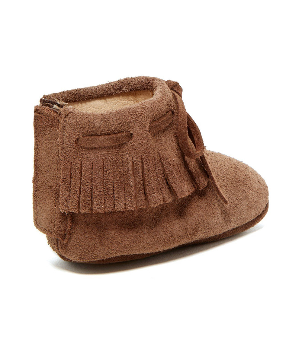 Deep Taupe Fringe Lace-Up Boots