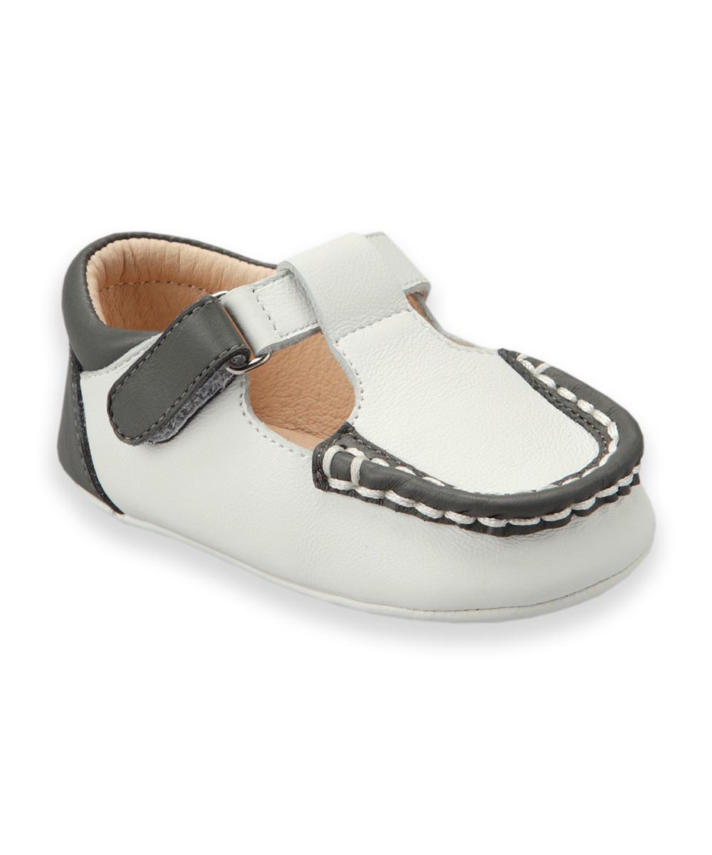 Dark Gray Color Block Leather T-Strap Shoe