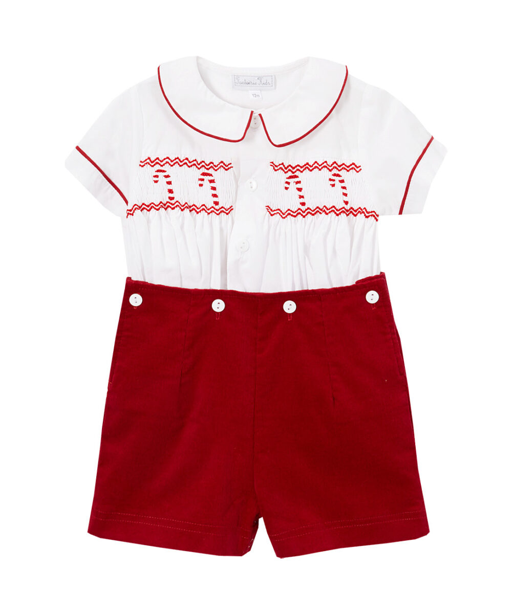 White & Red Smocked Candy Cane Button on Short set