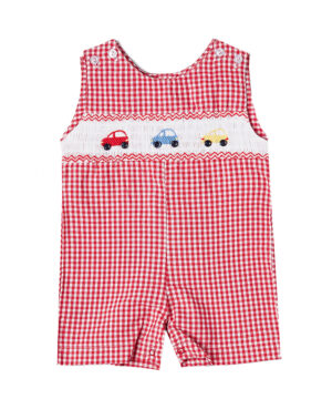 Red gingham hand-smocked Jon Jons with car detail from Fantaisie Kids