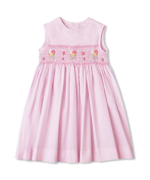 Pink hand-smocked dress with flowers from Fantaisie Kids