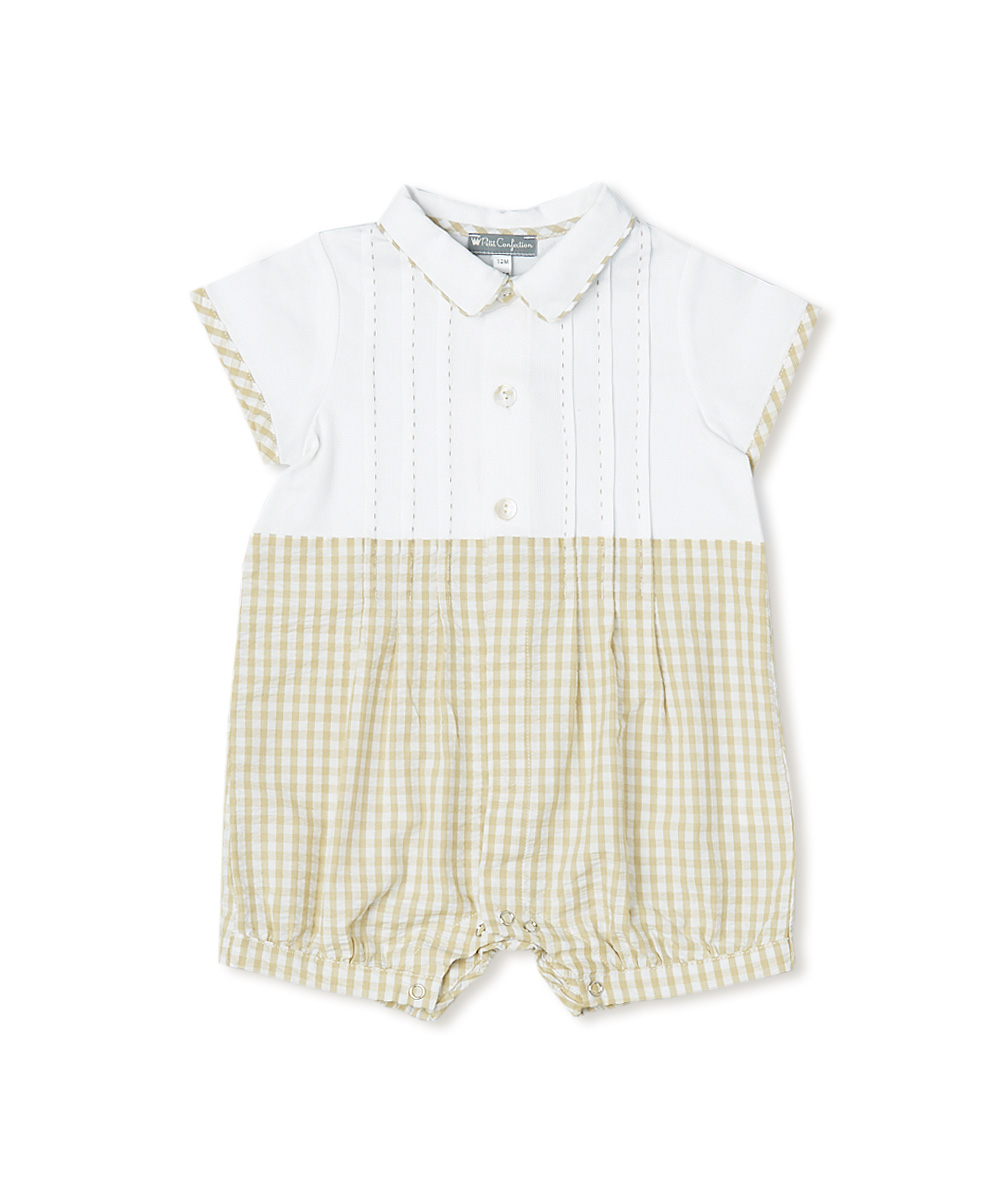 Hand Stitched Pleated  Romper Boy