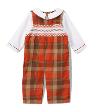 Orange Plaid Smocked Overalls & Peter Pan Collar Shirt By Fantaisiekids