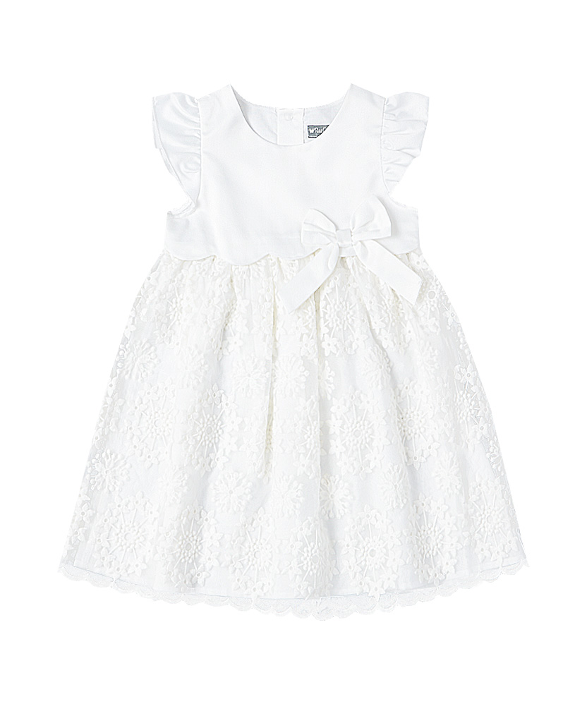 Angel Sleeve Embroidered Ivory Lace Dress