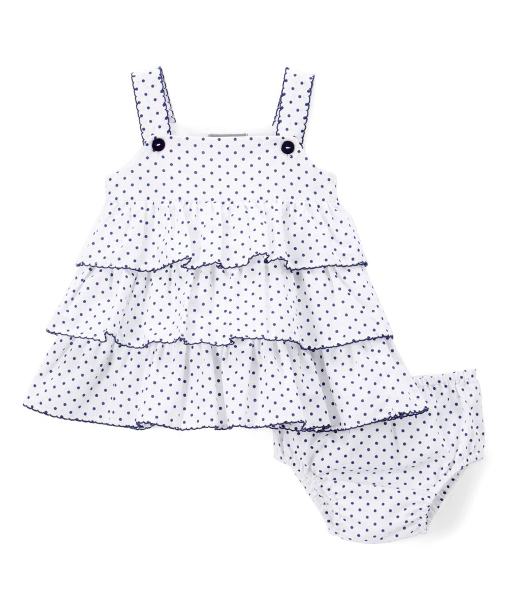 Navy Blue Dot Tiered Dress