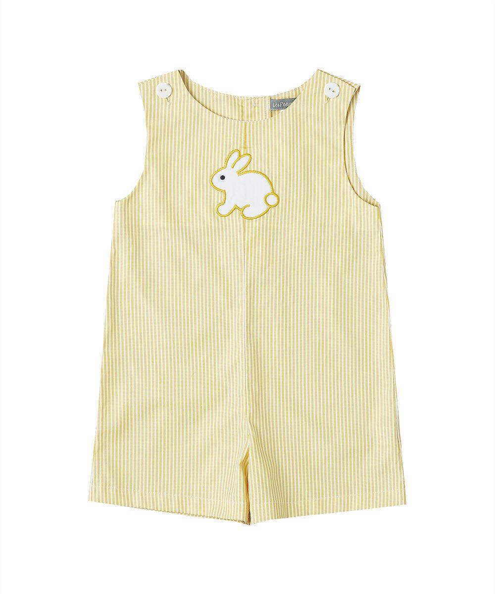 Yellow Bunny Appliqué Shortalls