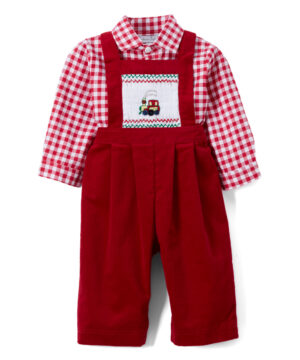 Smocked Chou Chou Train Red Overalls & Shirt by FantaisieKids