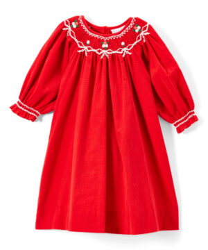 Red & White Girl Smocked Bishop Dress by Fantaisie Kids