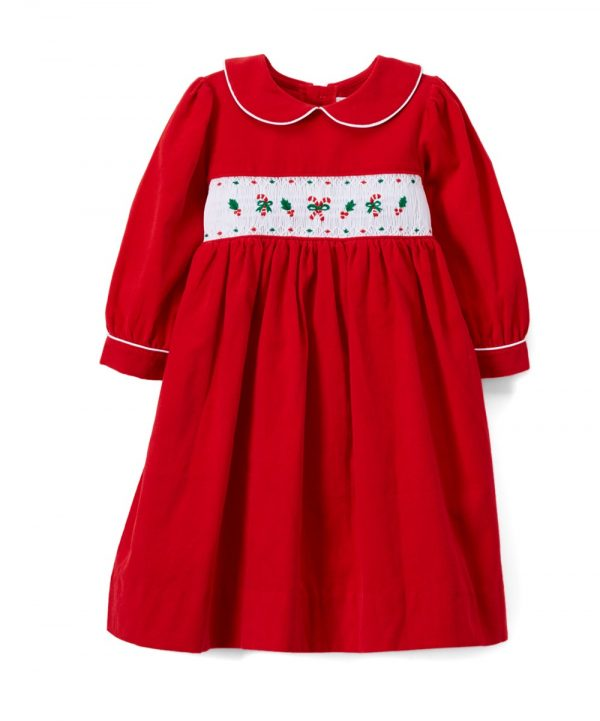 Candy Cane Smocked Red Periwinkle Corduroy Dress from Fantaisie Kids