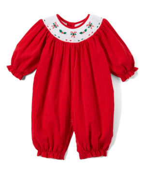 Red & White smocked girl hoiday romper by Fantaisie Kids