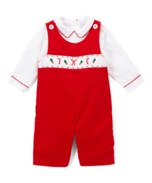 Smocked Candy Cane Overalls & White Shirt by Fantaisie Kids
