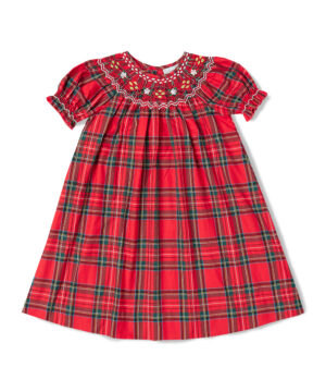 Red & Green Plaid Smocked Bishop Holiday Dress by Fantaisie Kids