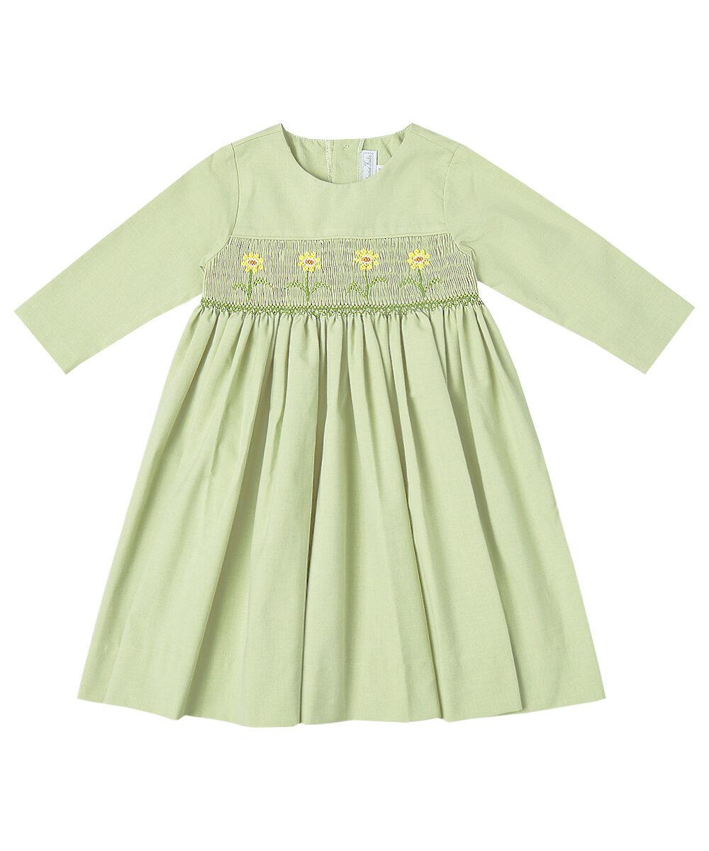 Green SunFlower Smocked Dress