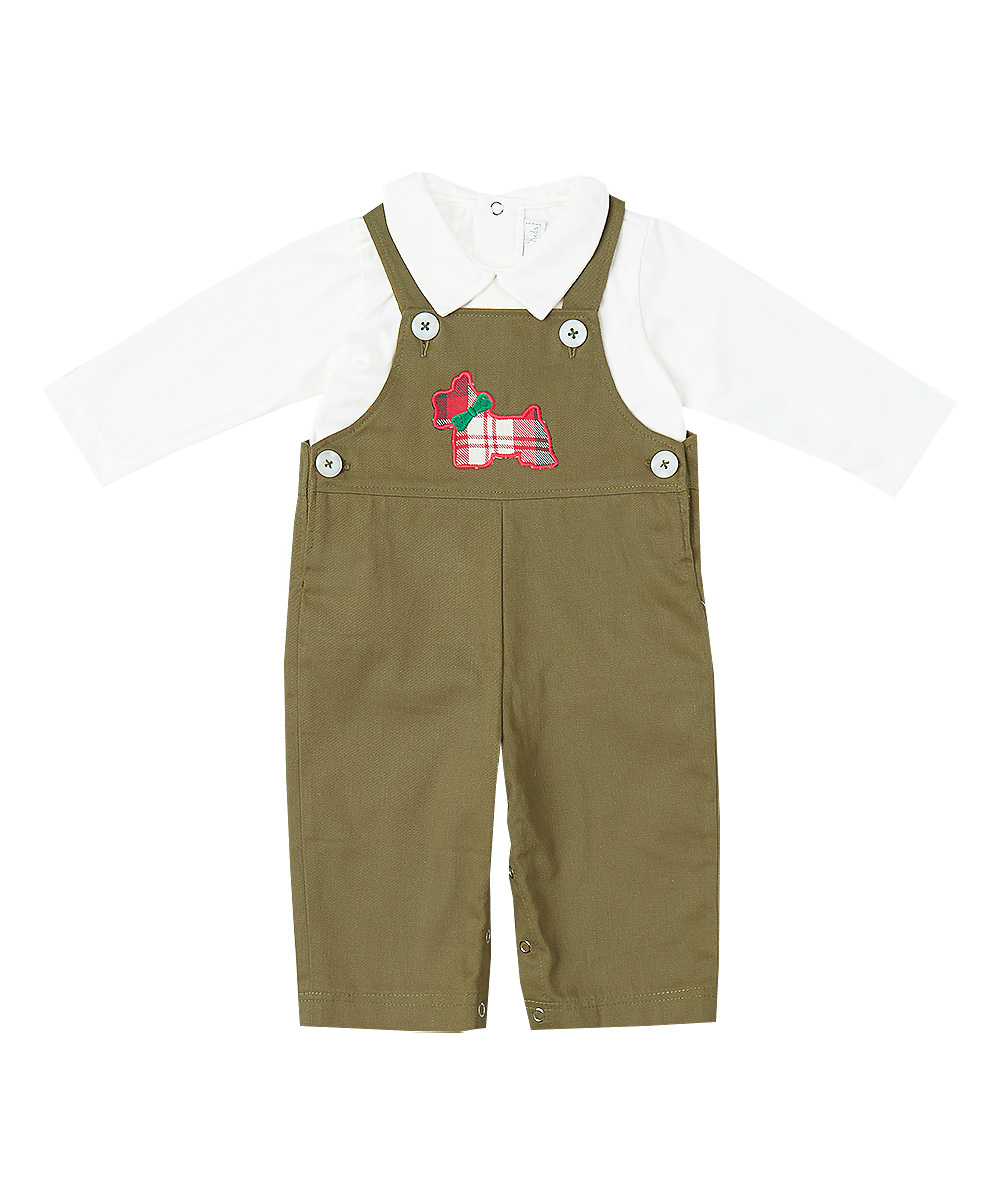 Green Scottie Dog Overalls & T- Shirt