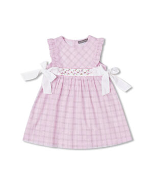 Pink Plaid smocked ruffle dress by Fantaisie Kids