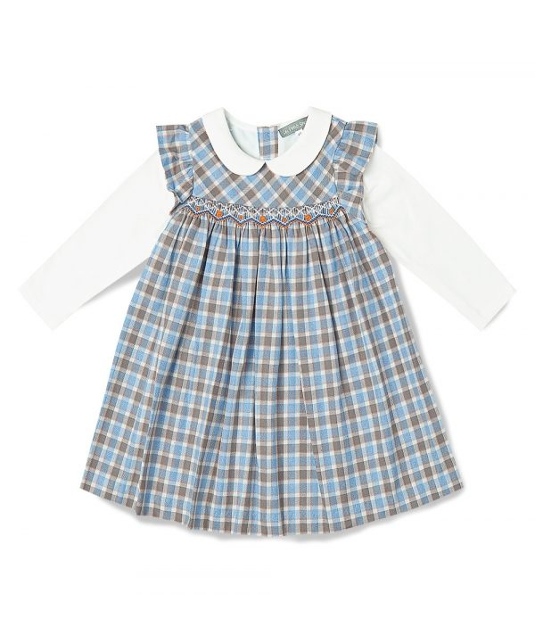 Blue Plaid Smocked Pinafore Dress by Fantaisie Kids