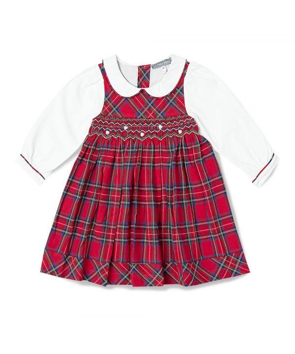Smocked Peter Pan Collar Tartan Girl Dress by Fantaisie Kids