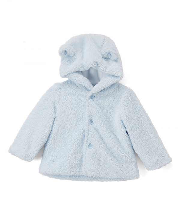 Light blue faux fur baby jacket from Fantaisie Kids
