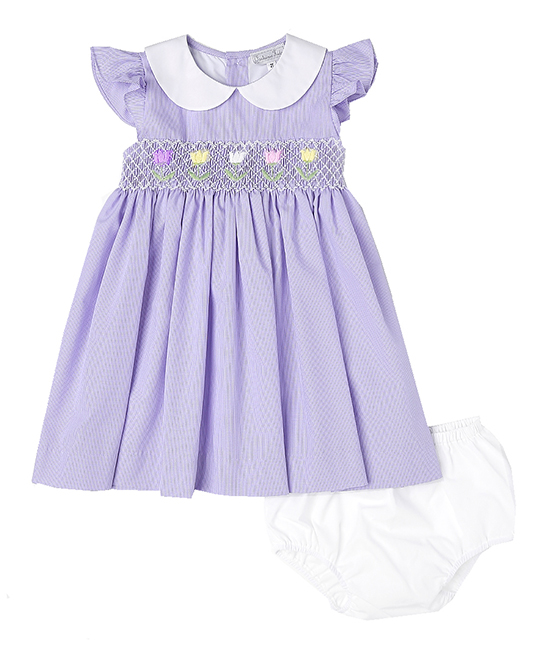 Lavenver Smocked Tulips by Fantaisie Kids