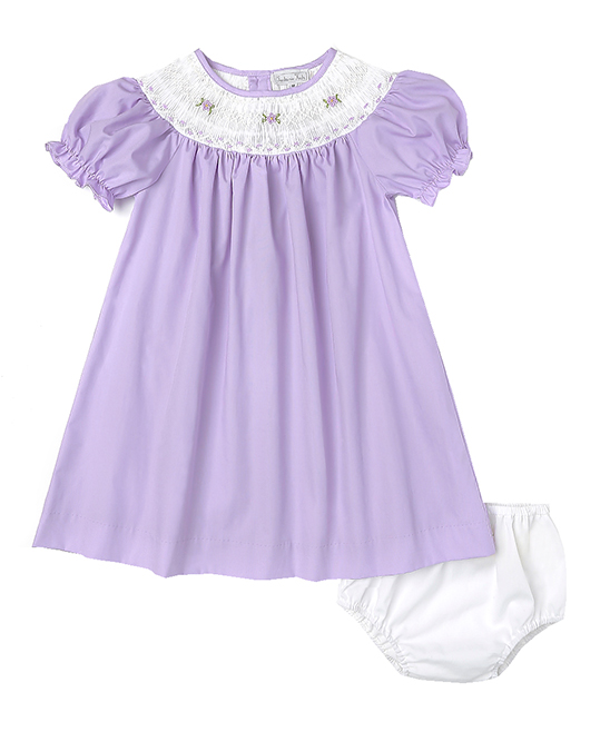 Lavender smocked bishop dress by Fantaisie Kids
