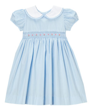 Baby Blue Smocked Girl Peter Pan Collar Dress by Fantaisie Kids