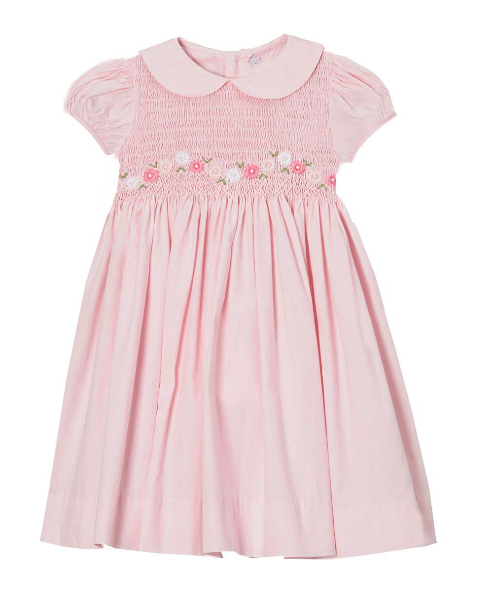 Children's Smocked Dresses - Pink Floral Dress With Peter Pan Collar