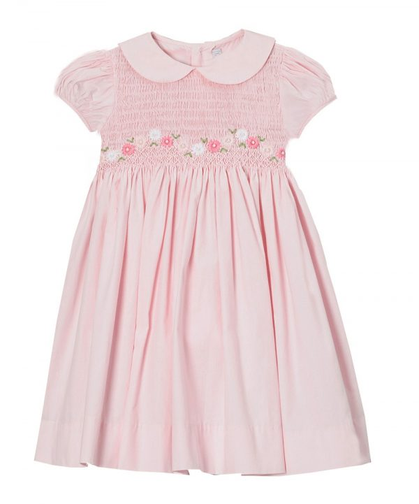 Children's hand-smocked dress in pink with Peter Pan collar from Fantaisie Kids