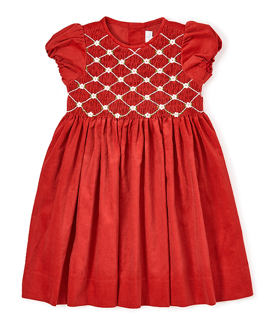 Red & White Girl Smocked Dress by Fantaisie Kids