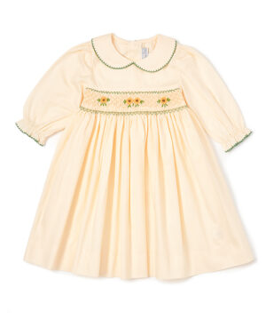 Hand Smocked Yellow Peter Pan Collar Dress