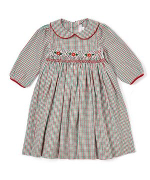 Red & Green Girl Smocked Holiday Dress