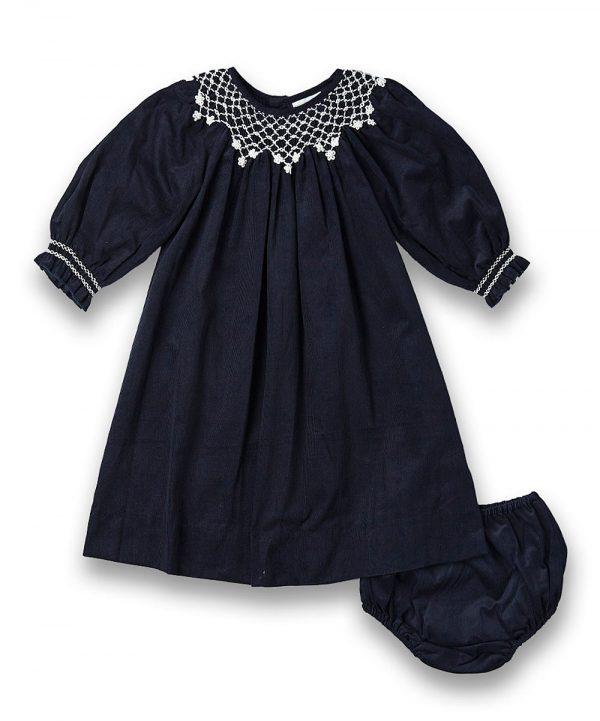 Navy Blue Smocked & Embroidered Bishop Dress