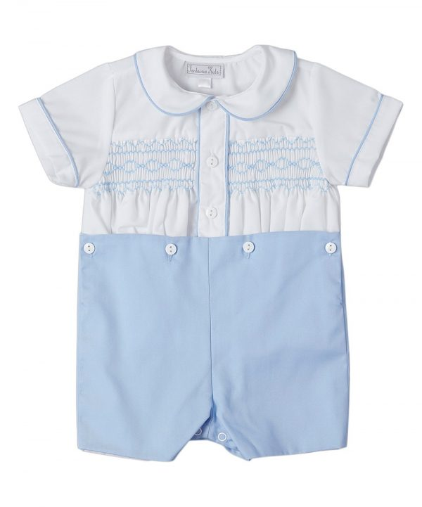 Blue and White Baby Boy Smocked Outfits by Fantaisie Kids
