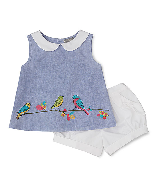 Blue Embroidered Tropical Bird  Top & White Short