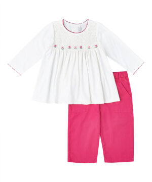 Smocked Red & White Top with red pants by Fantaisie Kids