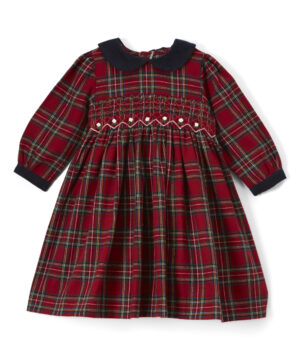 Hand smocked red & black peter pan collar dress by Fantaisie Kids