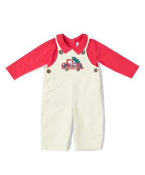 Christmas Tree Applique Corduroy Overalls & Tee from Fantaisie Kids