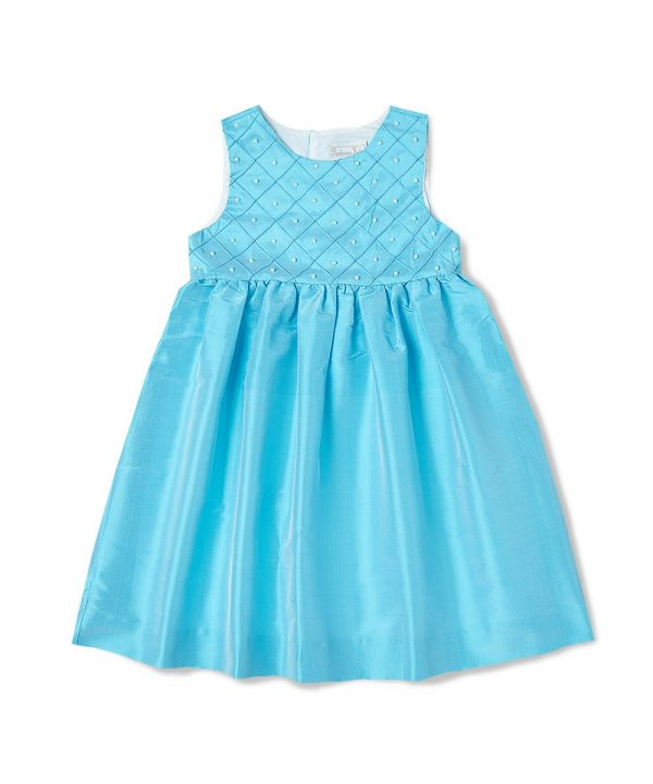 Aqua pearl accent silk smocked dress from Fantaisie Kids