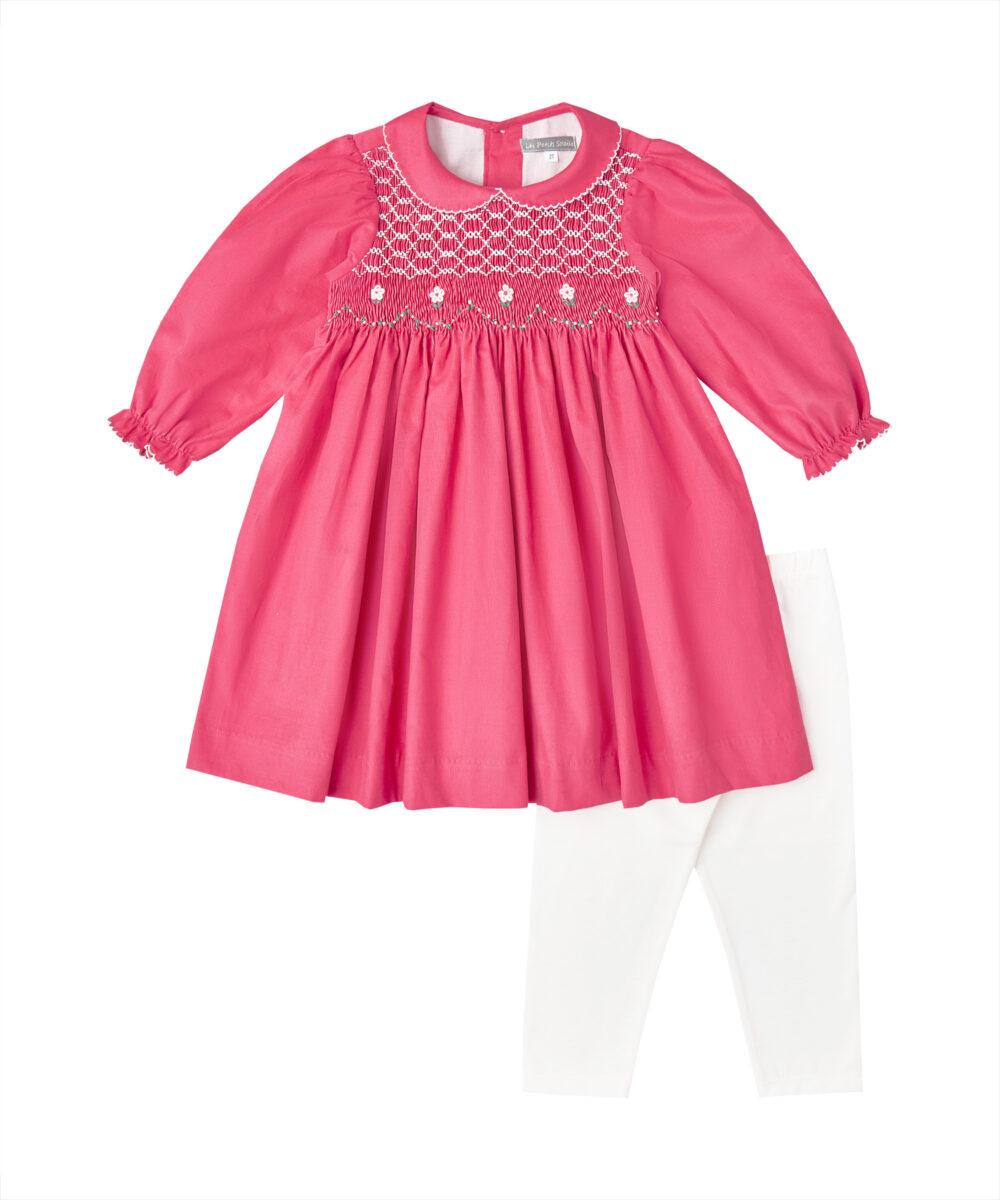 Smocked Hot Pink Corduroy Dress & Leggings