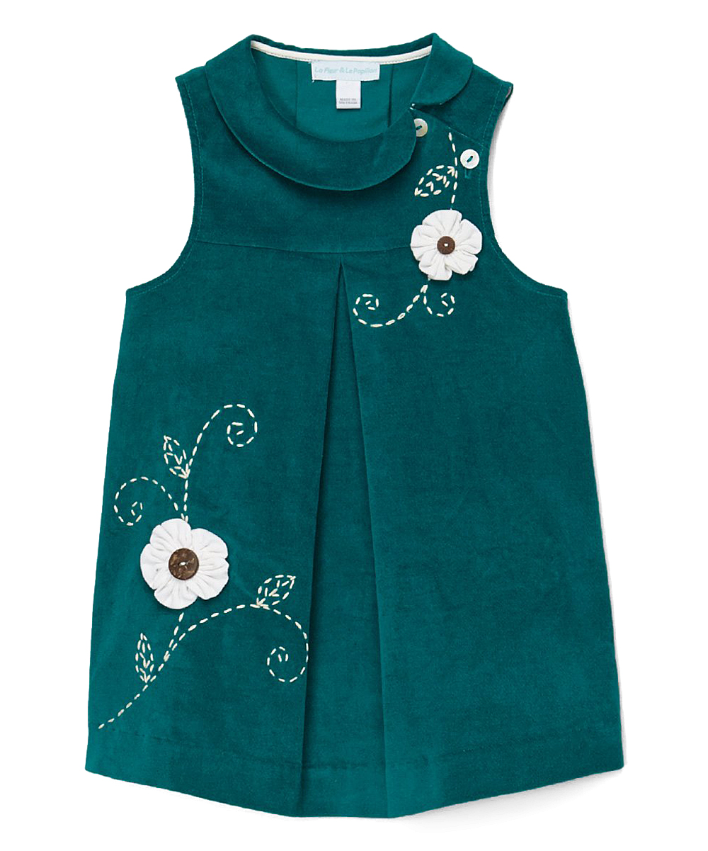 Turquoise Flower Applique Velveteen  Dress