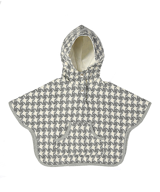 Gray Houndstooth Wool-Blend Hooded Poncho