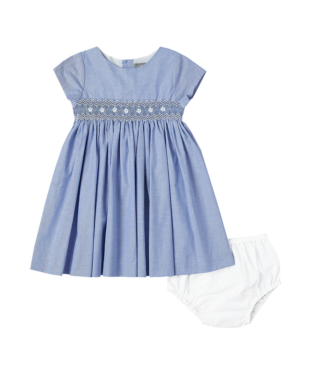 Blue denim smocked A-line dress from Fantaisie Kids