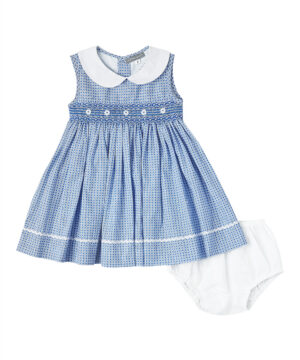 Smocked white daisy Peter Pan collar dress from Fantaisie Kids