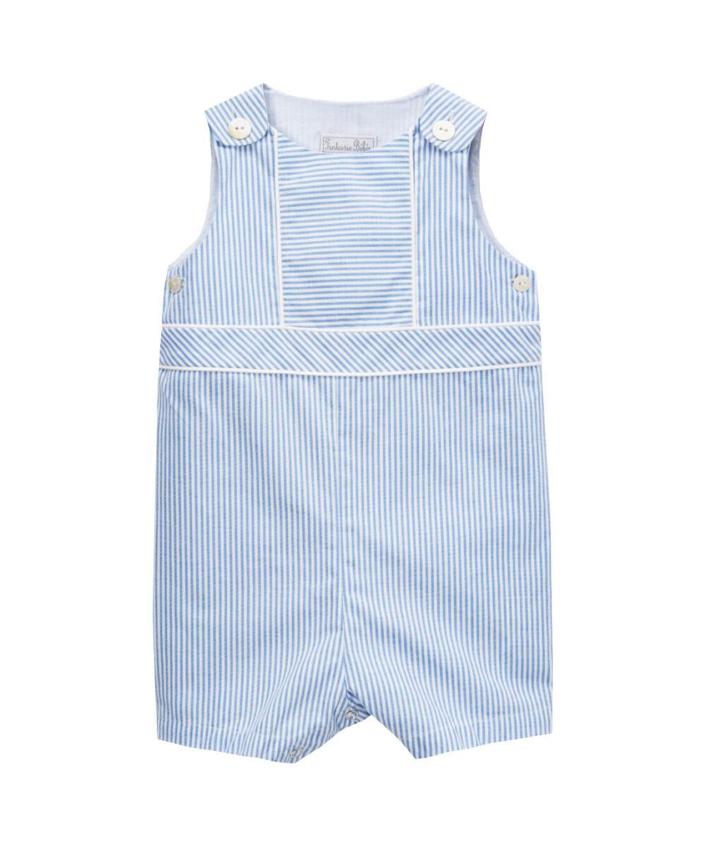 Blue & White Stripe Shortalls